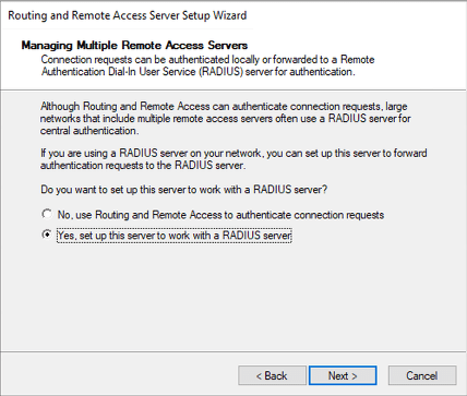 """Choose """"Yes set up this server to work with a RADIUS server"""""""