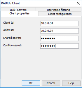 Enter the IP of the Remote Access Server. Use the same shared-secret as configured above andclick the User name filtering.