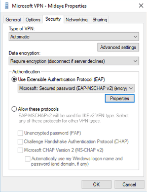 Select the security tab and choose Require encryption (disconnect if server declines). Change the authentication to Microsoft: Secured Password (EAP-MSCHAPv2) (encryption enabled).