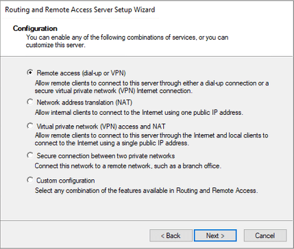 Choose Remote Access (dial-up or VPN) and click Next