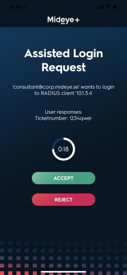 """The approver (gustav.warlinge.a) gets a notification that user consultant@mideye.com is trying to login to RADIUS-client 10.1.3.5. If the approver taps """"Accept"""" the user consultant@mideye.com's authentication attempt will be accepted."""